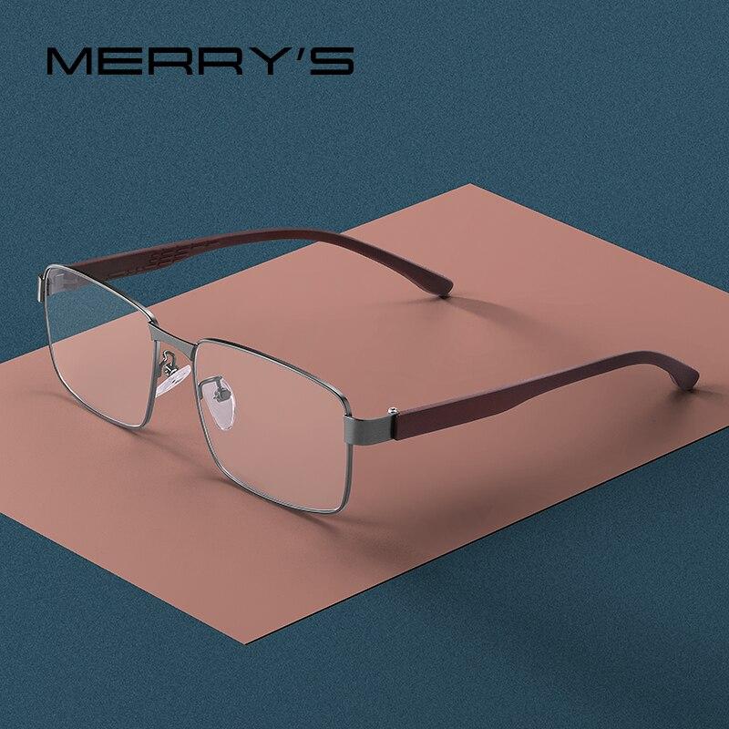 MERRYS DESIGN Men Business Style Square Glasses Frame Male Myopia Prescription Eyeglasses TR90 Frame Titanium Alloy Legs S2105