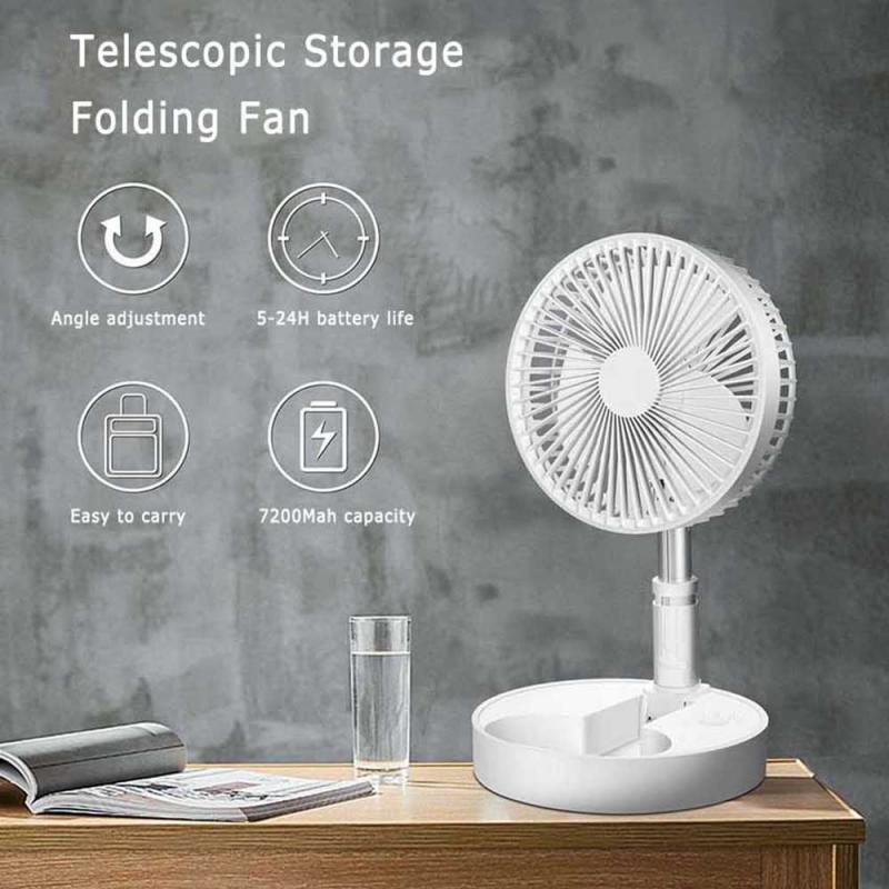 Folding Telescopic Mini Fan USB Rechargeable Student Notebook  Dormitory Household  Bed Desk Desk Outdoor Camping Electric Fan