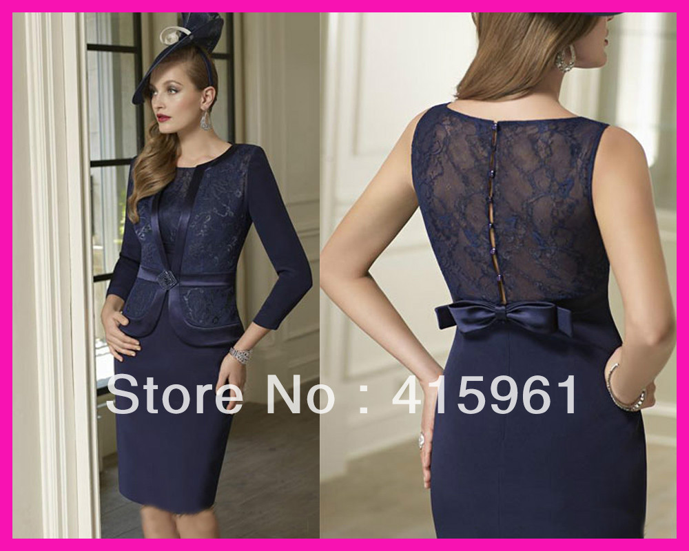 Vestidos De Novia 2019 Navy Blue Knee Length Lace Mother Of The Bride Dresses With Jacket For Weddings Vestido De Madrinha