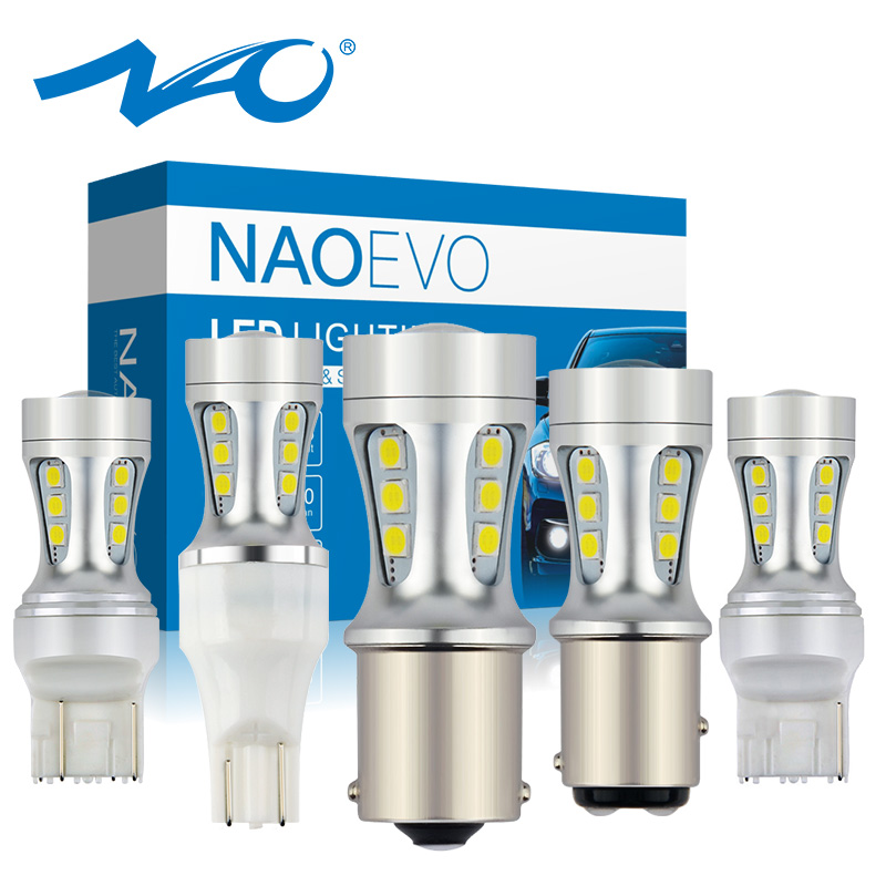 Светодиодная лампа NAO P21W W16W p21, 5 Вт, белая, 5 Вт, PY21W, 7440, 7443, W21, 5 Вт, W21W, T15, 1156, ba15s, 1157, bay15d, DRL, 12 В
