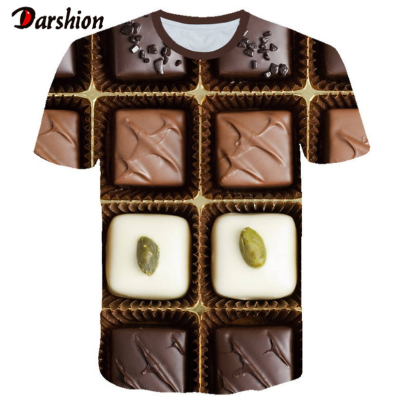 3D Sweet Chocolate Print Men 3d T-shirt Creativity Design Tops Tee Fashion Summer Short Sleeve Sugar 3D Printed T Shirt Plus 4xl