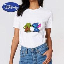 Dziecko Yoda i ścieg słodkie nadruki marki Disney koszulka damska w stylu Cartoon topy Ropa Mujer piękne uniwersalne koszulki białe