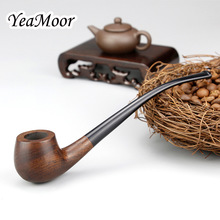 New Long Smoking Pipe Handmade 3mm Filter Ebony Wood Pipe 10 tools free Tobacco Pipe Set Vintage Wooden Smoke Pipe