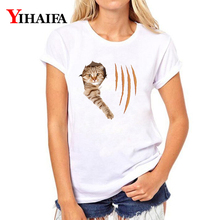 цены на Stylish Women T-shirt 3D Print Funny Cat Graphic Tee Casual Lady Summer White T Shirts Hip Hop Short Sleeve Tops  в интернет-магазинах