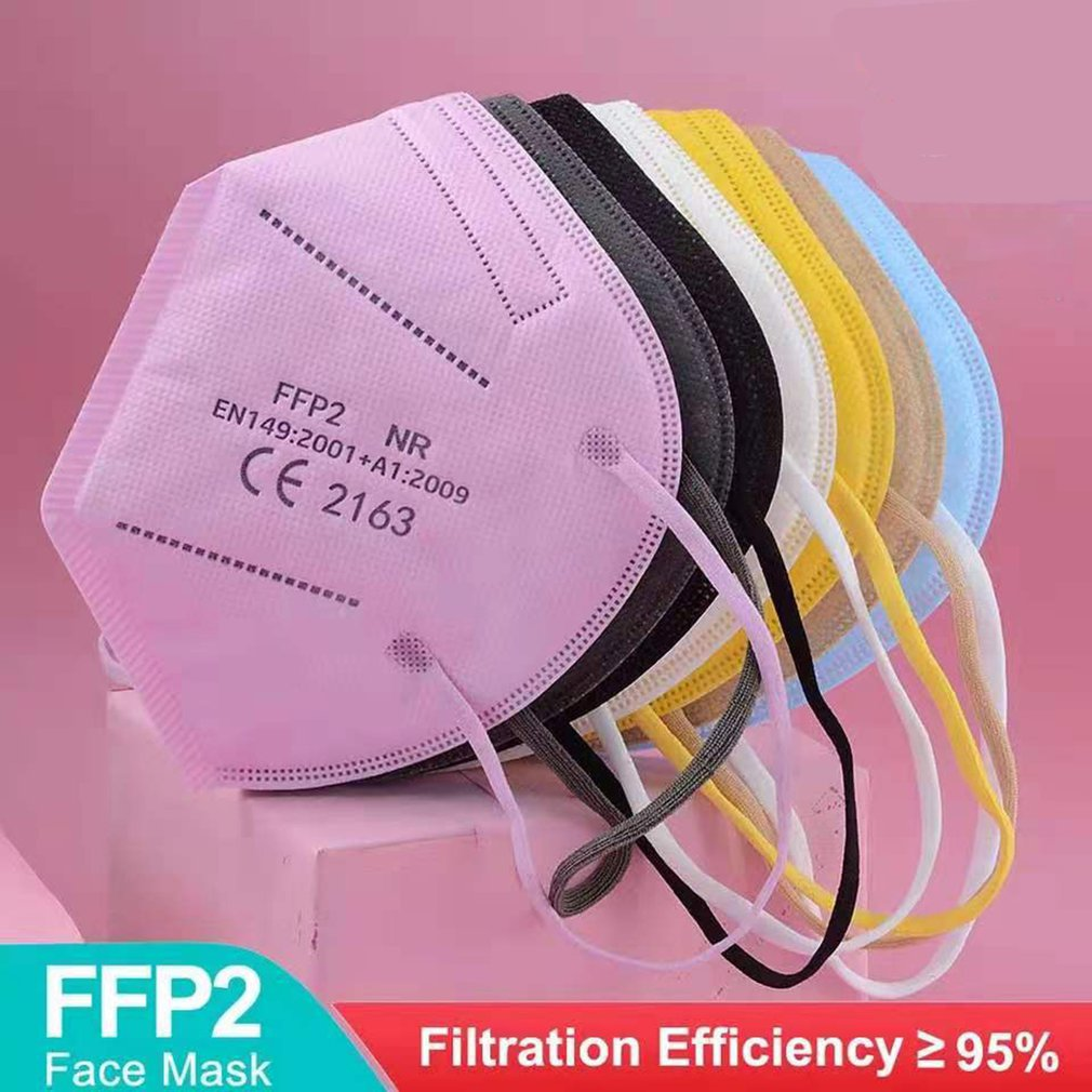 1-200pcs Colorful CE FFP2 Face Mask 4/5 Layer KN95 Filter