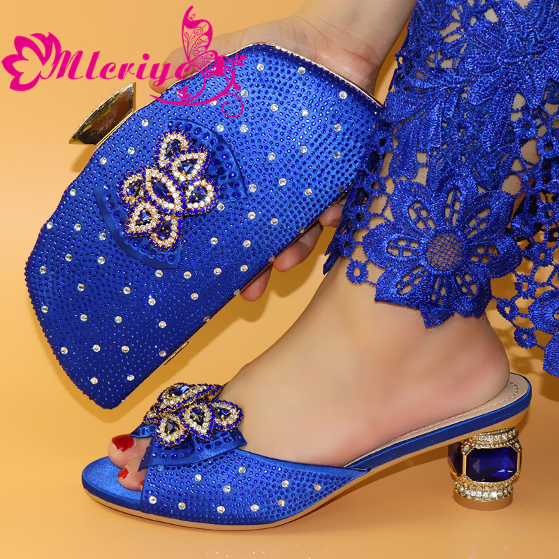 2020 African Special Design Ladies Shoes And Bag Sets BLUE Color Italian Shoes With Matching Bags LOW Heels Women Shoes