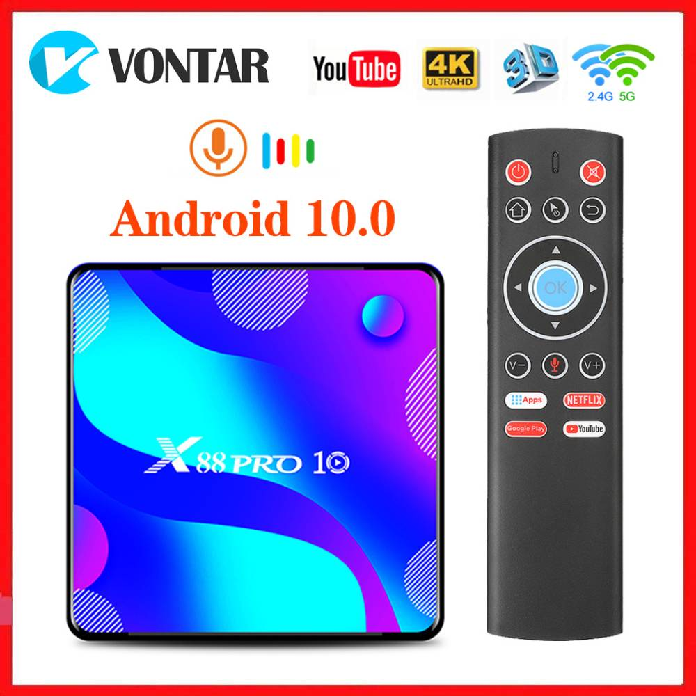 VONTAR Android 10.0 TV Box X88 PRO 10 TVBOX RK3318 4K Google Store Netflix Youtube Max 4GB RAM 64GB ROM Android 10 Set Top Box
