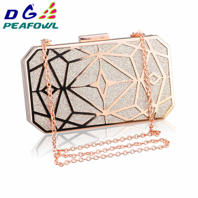 DG PEAFOWL Luxury Gold Evening Bag Women Party Banquet Glitter Bag Wedding Clutches Minaudiere Chain Shoulder Bag Bolsas Mujer