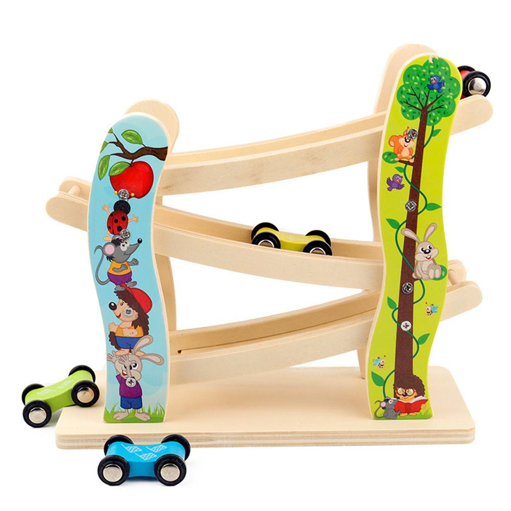Wooden Track Car Toys Gliding Cars Race 3 Layers Slider Ladder Slot Track Play Set For Kids Turn Back Ramp Car Racing Games Gif