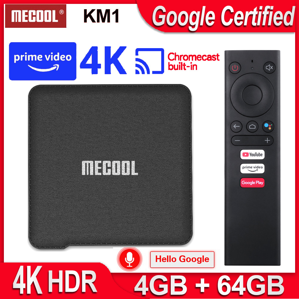 2020 Android 9.0 TV Box Android Smart Box Mecool KM1 4G RAM 64G Amlogic S905X3 2.4G/5G 2T2R WiFi 4K BT4.2 Google Certified TVbox