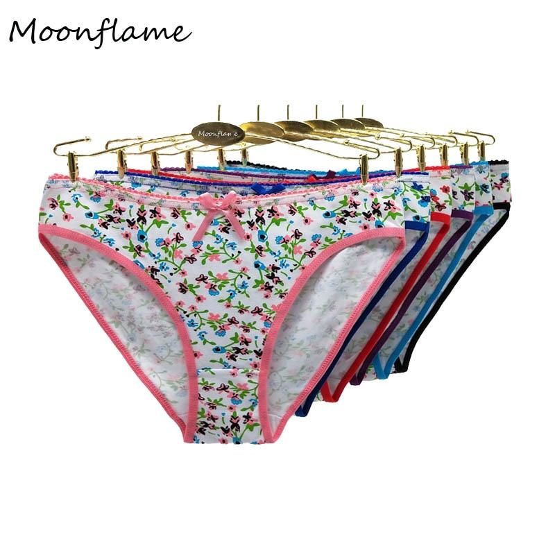 Moonflme 5 Pcs/lots Floral Print Cotton Women Briefs M L XL 86795
