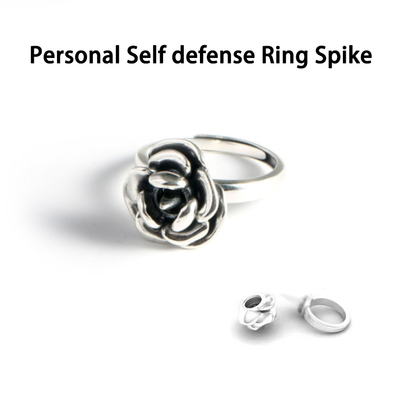 Outdoor Personal Self Defense Rose Ring For Women With Spike Anti-wolf Protect Yourself Metal Barbed Rose Ring Broken Window