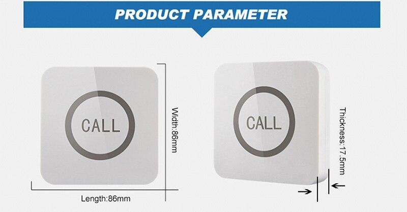 Высокое качество 1Key Водонепроницаемая беспроводная кнопка вызова ресторана, система вызова официанта, со съемным водонепроницаемым основанием