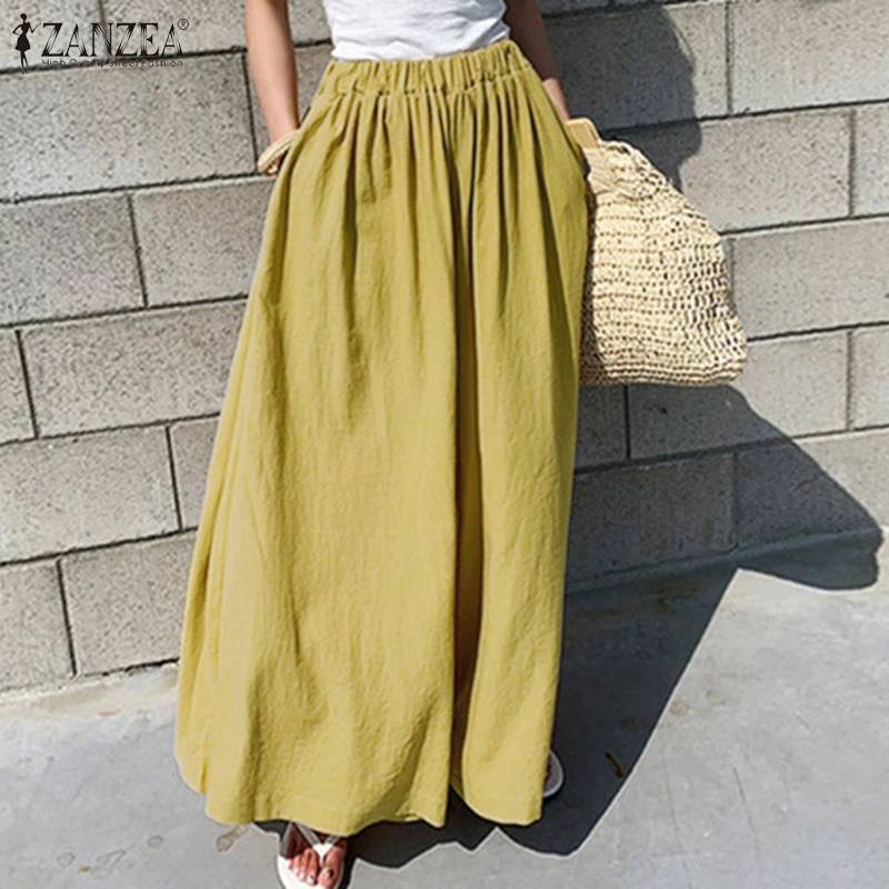 ZANZEA Oversized Women Wide Leg Pants 2020 Fashion Female Casual Elastic Waist Trousers Office Lady Loose Pockets Streetwear 5XL
