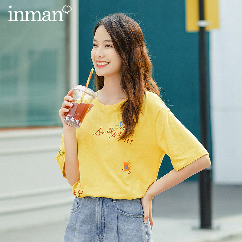 INMAN Summer New Arrival Fit Style Joker Contrast Color Intersting Chicken Tracks Embroidery Round Cotton Collar T-shirt