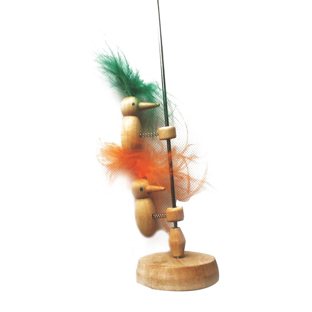 1PCS Cute Wooden Feather Spring Woodpecker Children Educational Toy Desktop Decor DIYWoodpecker experimental equipment toys