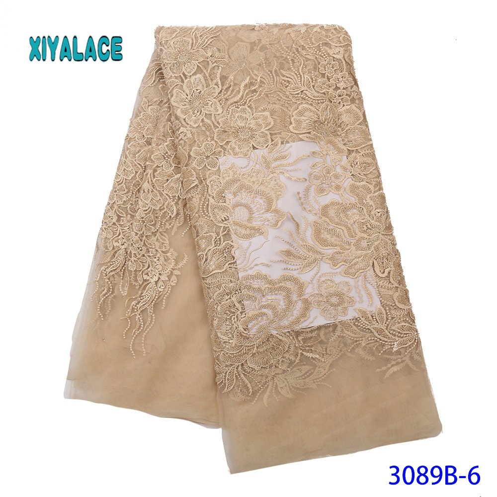 Golden Lace Fabric 2019 High Quality Lace Nigerian Lace Fabric For Women Dress African Tulle Lace With Stones 5yards YA3089B-6