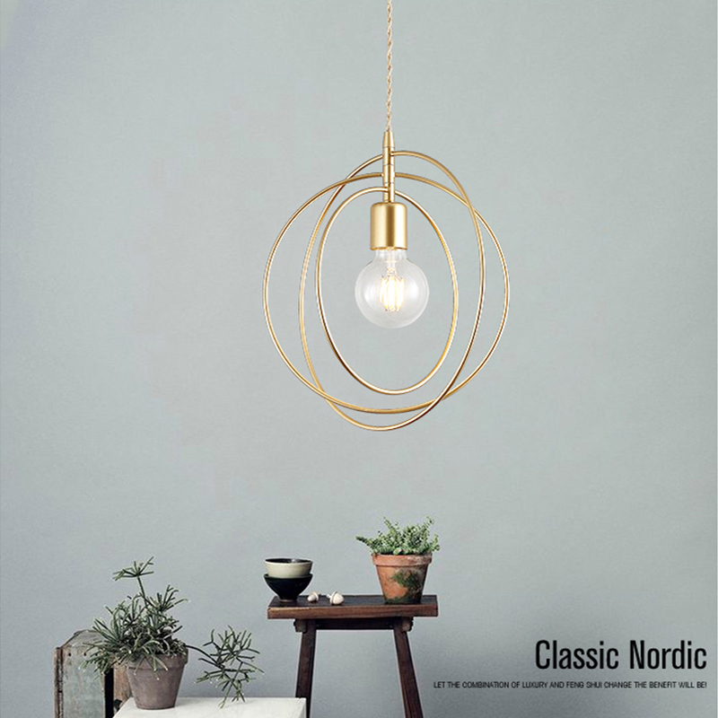 LED Iron Pendant Lights Golden E27 Hanging Lamp Bedroom Living Room Decoration Pendant Lamps Indoor Lighting Kitchen fixtures