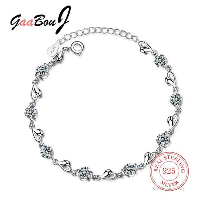 Delicate 925 Sterling Silver Zircon Love Heart Shaped Bracelets For Women Valentines Gift Wedding Jewelry 1