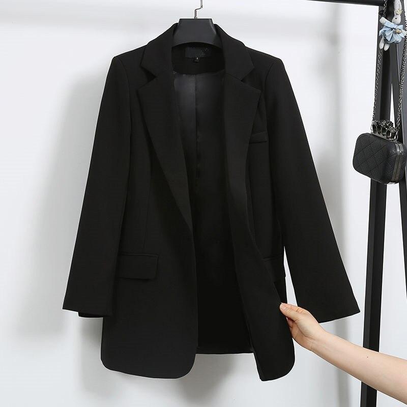 2020 Fashion Black Blazer Jackets Women's Suit Jacket Casual Spring Autumn Coats British Workwear Long Blazers Outerwear V1225