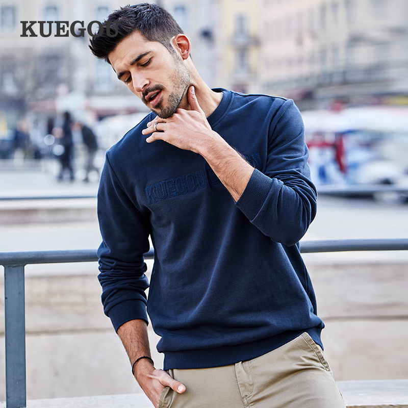 KUEGOU Brand Men round collar sweatshirt spring autumn Men hoodies leisure fashion simple letters sweatshirts embroidery MW-2270