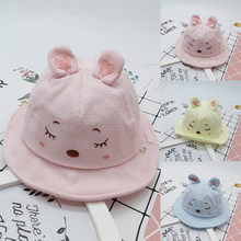 Baby baseball cap Baby cute baby hat 3D rubbit ear baby hat Children Kids Lovely Soft Printed Fishing Hat Bucket Hat Sun Hat sun(China)