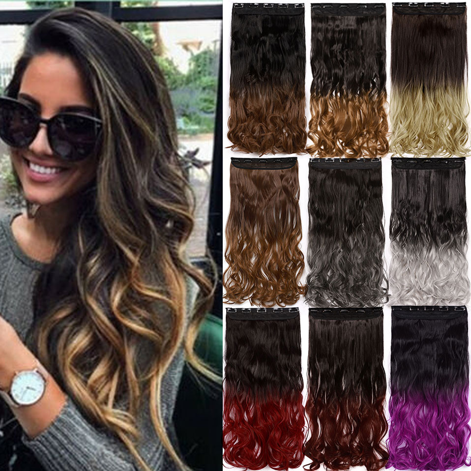 S-noilite 49colors 24inch Curly Clip In One Piece Hair Extensions Ombre Red Pink Purple Synthetic Clip Hair Hairpiece For Women