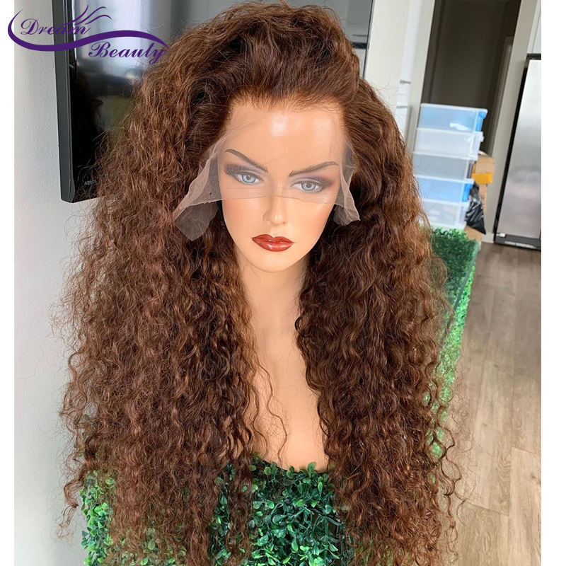 180% Brown Color Curly Hair 13X6 Lace Front Hair Wigs With Baby Hair 8-24INCH PrePlucked Brazilian Curly Remy Hair Dream Beauty