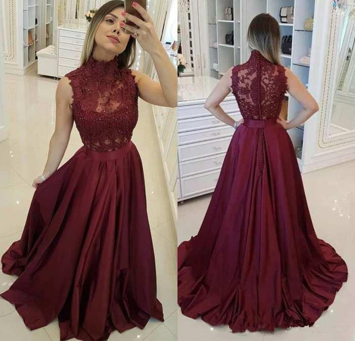 2020 New Arrival High Neck Long Burgundy Prom Dresses A Line Sweep Train Evening Formal Party Dress With Back Button Vestido