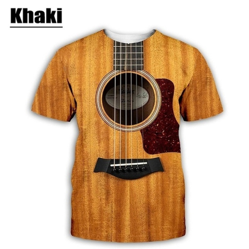 Music Trend Guitar Funny 3D Print Casual T-Shirt Men Women Short Sleeve Tee Tops
