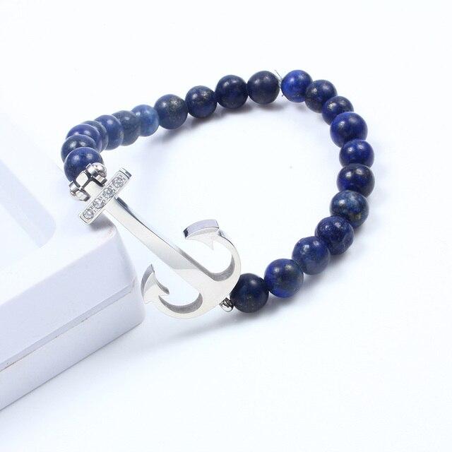 Мужской браслет с якорем dicaylun lapis lazuli Синий Эластичный