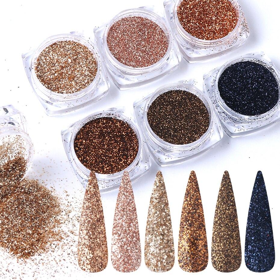 100 conjuntos x 6 pcs prego glitter ouro acucar mergulhando em po arenoso granulado glitter flakies