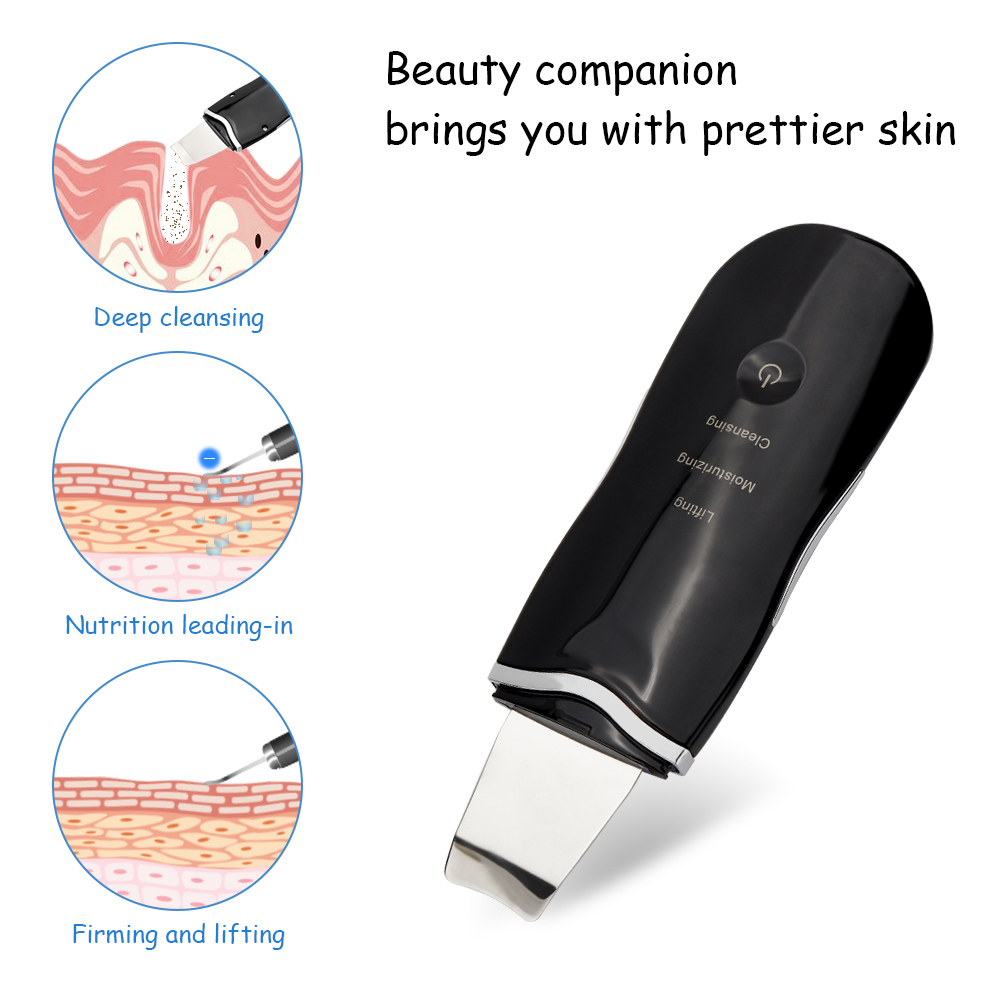 USB Rechargeable Ultrasonic Face Skin Scrubber Cleaner Peeling Vibration Blackhead Removal Exfoliating Pore Facial Cleaner Tools
