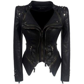Vestes en Faux cuir femme manches longues, moto lisse, automne hiver motard Streetwear noir et rose manteau 1