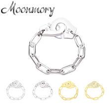 Moonmory mode 925 en argent Sterling Menottes anneau blanc trombone chaîne Menottes anneau cadeau pour femmes et hommes bijoux rencontres
