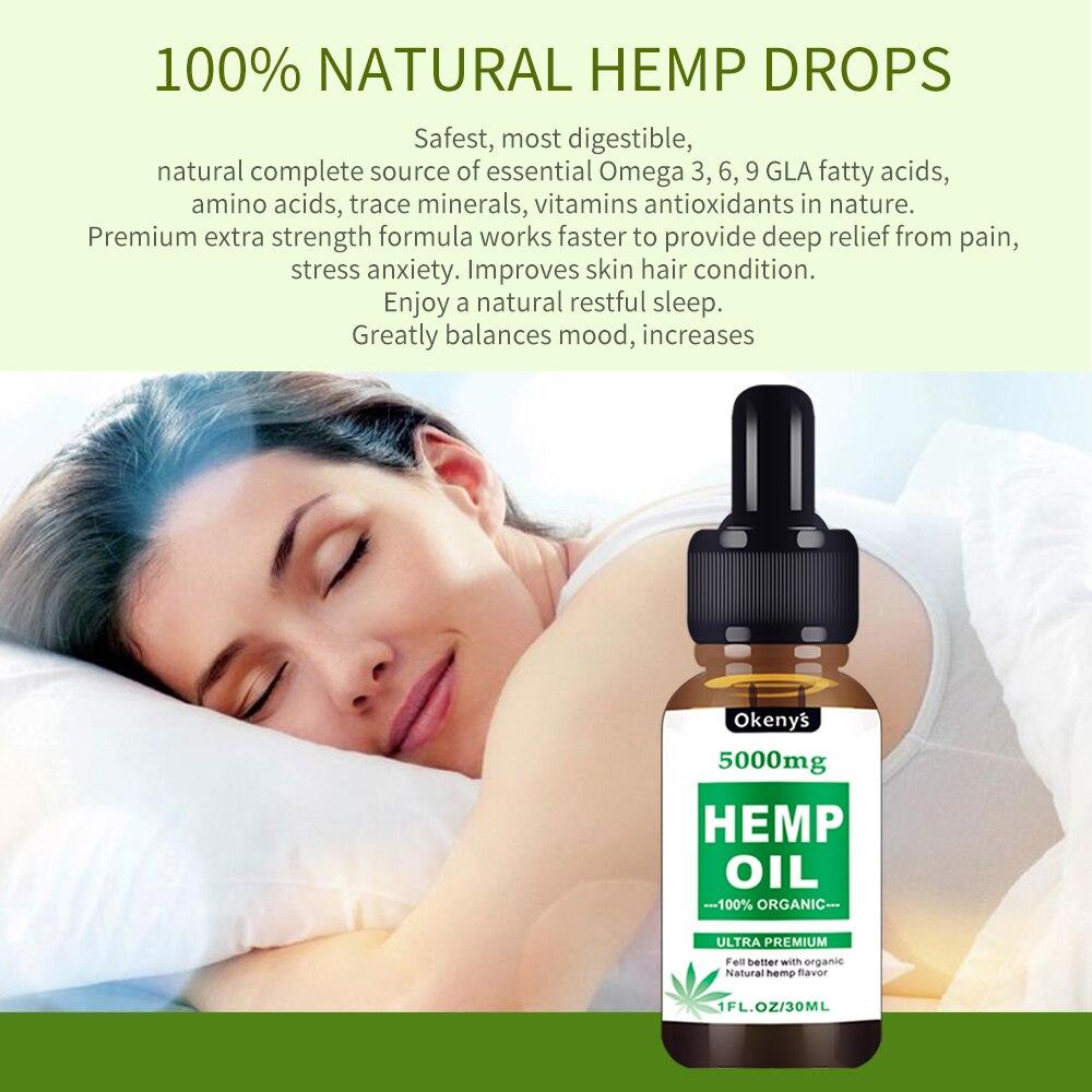 30ml Hemp Oil, 100% Natural Sleep Aid Anti Stress Hemp Extract Drops For Pain, Anxiety & Stress Relief, 5000mg Contains Cbd