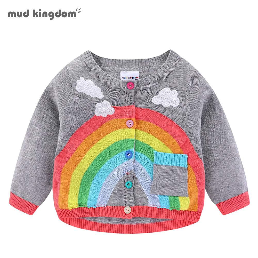 Mudkingdom Girls Boys Knitted Cardigan Sweater Rainbow Clouds Thin Outerwear Tops for Kids 1