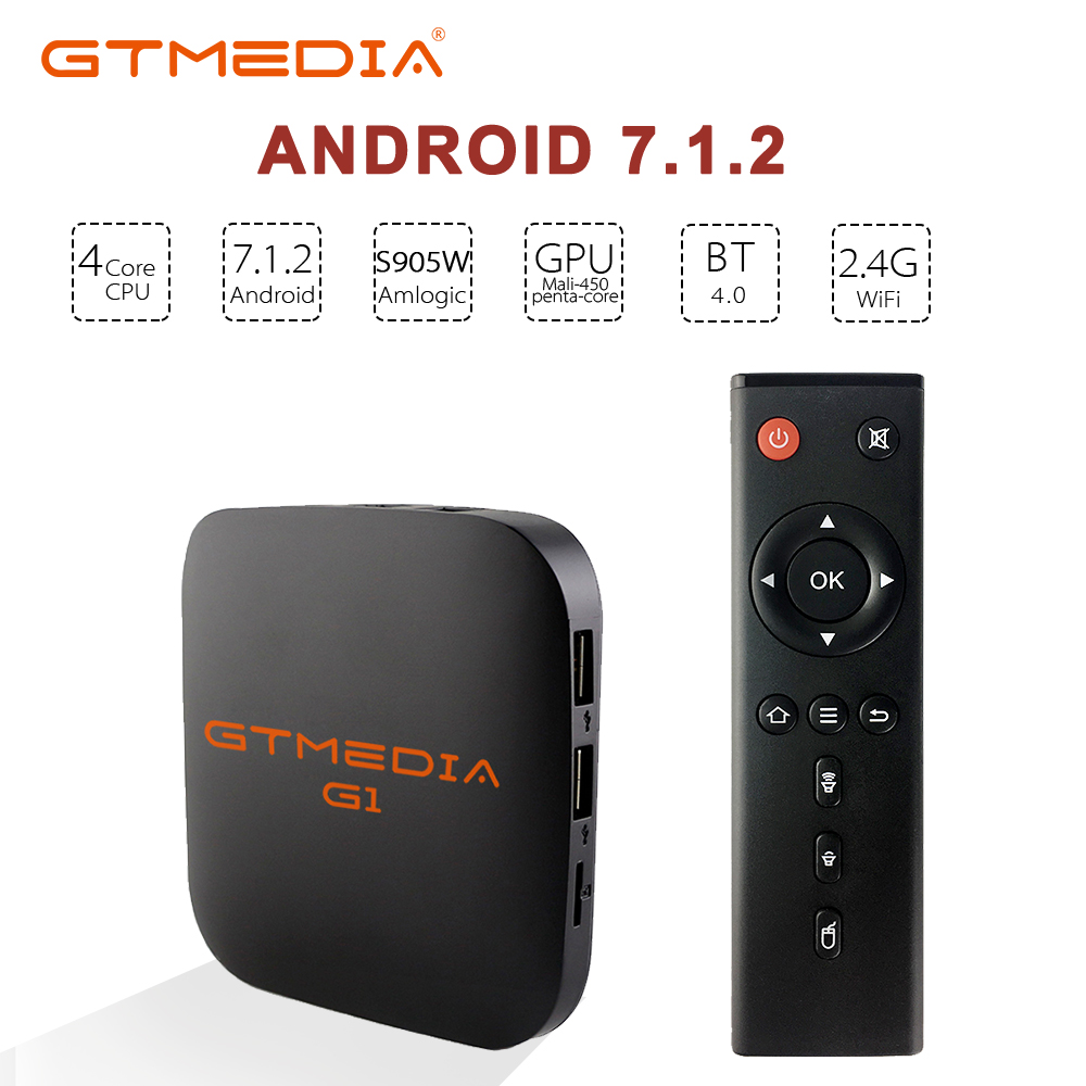 GTMEDIA G1 Android 7.1 Smart TV Box S905W 1G+8G Wireless WiFi 3D 4K Network Media Player M3U SERVER ACM Play Store TV Box PK H96