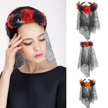 Diadema ajustable de malla de araña para Halloween tocado de flores rosas accesorios para baile de graduación elegante y dulce diseño para fiesta