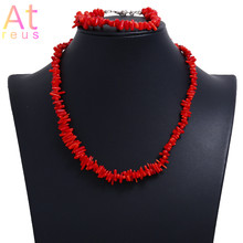 Nigerian Wedding African Red Imitation Coral Beads Jewelry Set African Costume Jewelry Sets Irregular Stone Bracelet Necklace(China)