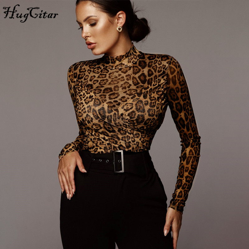 Hugcitar 2019 Long Sleeve Leopard Print Patchwork Sexy Bodysuit Autumn Winter Women Streetwear Outfits Bodycon Club Body