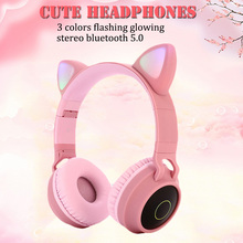 Pink Cute Cat Ear Bluetooth 5.0 Wireless Girls Headphones 3 Colors Flashing Glowing Stereo Headset With Mic Support TF Card все цены