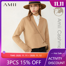 Women's Sweater Vneck Cashmere Wool Autumn Winter Tops Fashion Amii Minimalism Solid