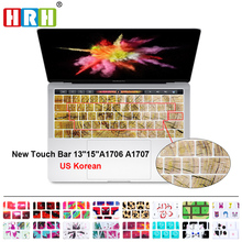(2016 Release Touch Bar ) Decal Animal Korean LanguageSilicone Keyboard Cover Skin For Macbook Pro 13 15 A1706 A1707 US Layout original new laptop keyboard replacement for macbook pro 15 15 4 a1707 2016 us keyboard with backlight