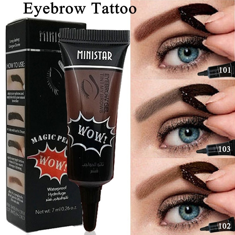 1PC Waterproof Liquid Henna Eyebrow Tint Gel Long Lasting Grey Brown Color Peel Off Eyebrow Tattoo Enhancer Makeup 7ML