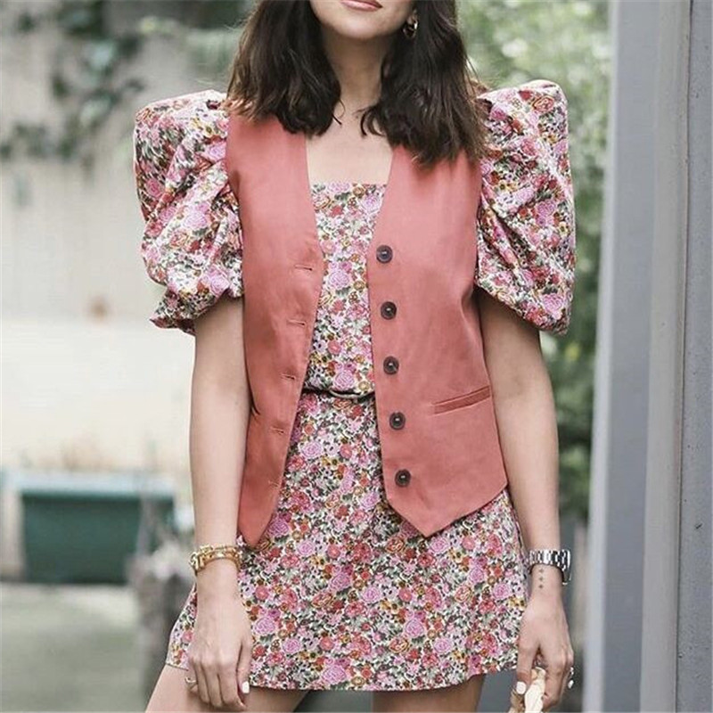 Stylish Floral Print Women Dress Office Lady Vintage Short Sundress Square Collar Puff Sleeve Ladies Mini Dresses 2020