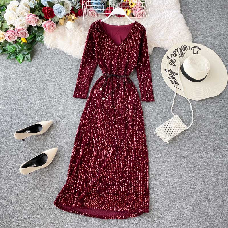 NiceMix Long Sleeve V Neck Sexy Dress 2019 Women High Waist Bodycon Elegant Dress Fashion Sequined Glitter Party Dresses