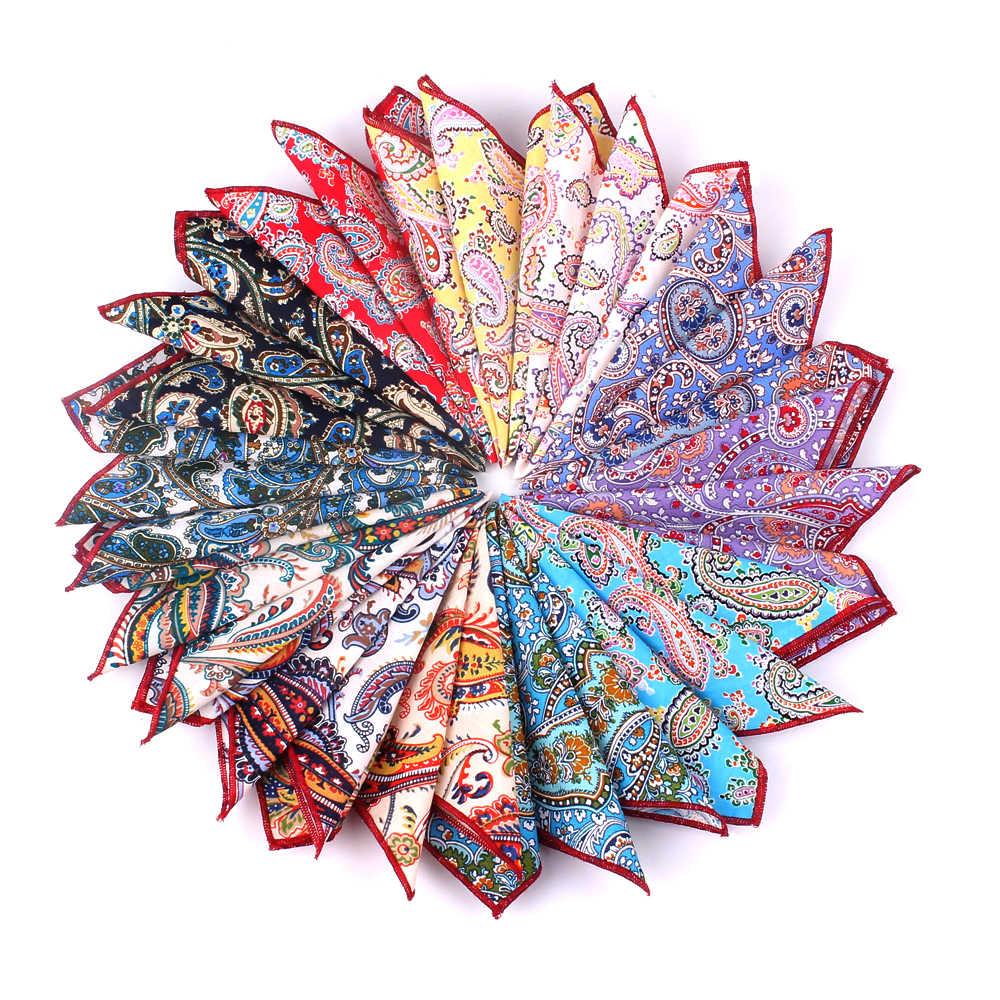 Merk Casual 100% Katoen Zakdoeken voor Mannen Cashew Bloemen Gedrukt Pocket Vierkante Mannelijke Bruiloft Zakdoek Handdoeken Hanky