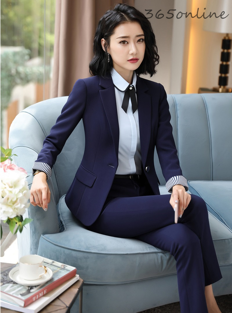 Fashion Patchwork Novelty Uniform Styles Women Business Suits Autumn Winter Ladies Office Work Wear Blazers Sets Pantsuits