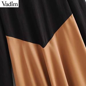 Image 3 - Vadim women chic spliced midi dress patchwork long sleeve O neck elegant female office wear mid calf dresses vestidos QC986